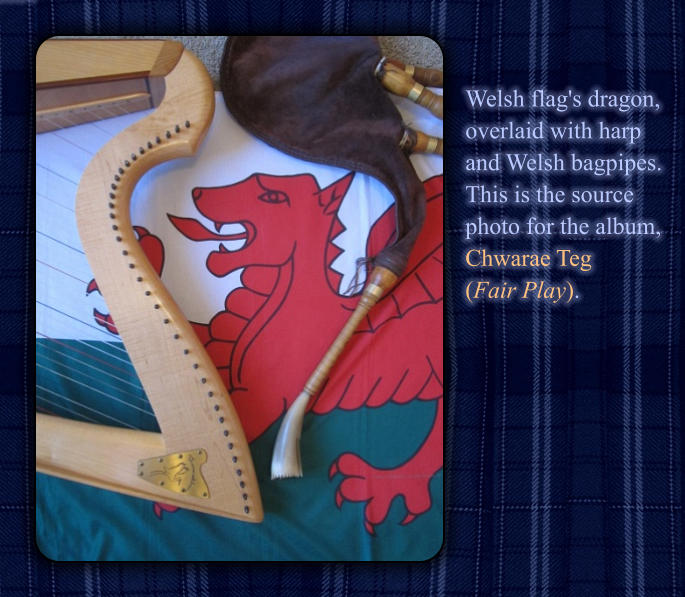 Welsh flag's dragon,  overlaid with harp  and Welsh bagpipes.   This is the source  photo for the album, Chwarae Teg  (Fair Play).