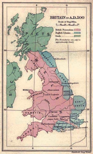 Map of cultures in Britain, 500 AD