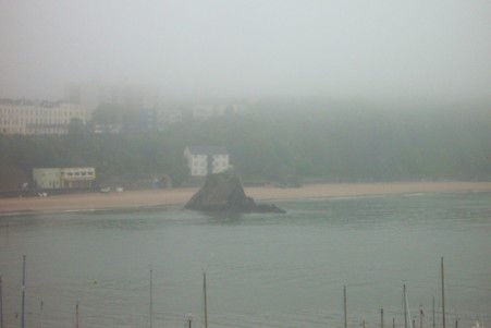 Tenby rock in the morning mist